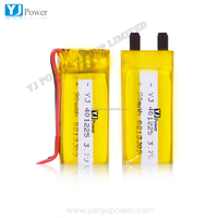 China supplier 3.7v 90 mah 401225 li polymer battery portable pressure washer with rechargeable battery for led light