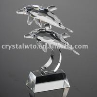 two dolphin crystal figurine