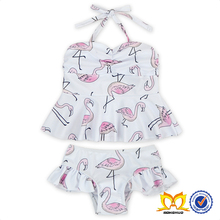 Latest Stylish Baby Girls Summer Swimwear Boutique Flamingo Pink Beachwear Hot Girl 2PC Bikini