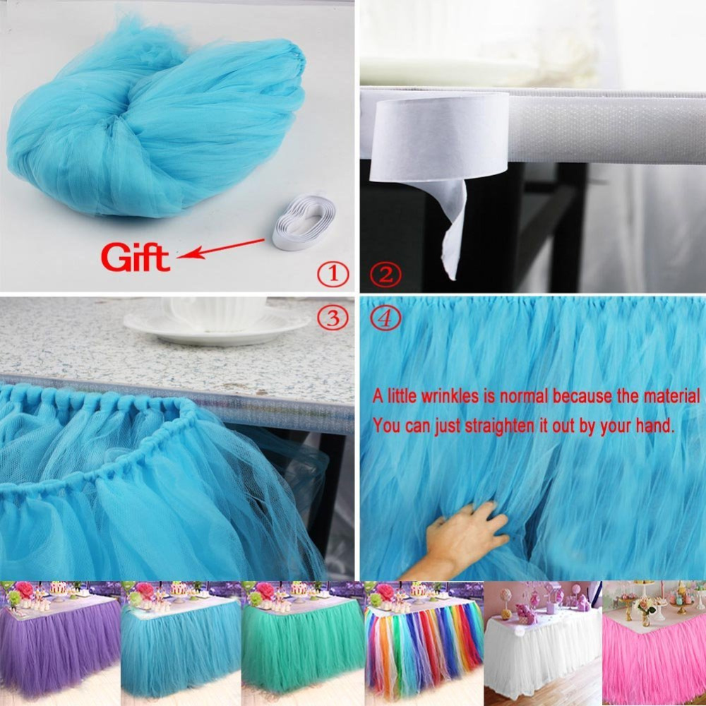 100*80cm DIY Tulle Tutu Table Skirt Customize Table Skirts Birthday Banquet Party Wedding Christmas Decoration