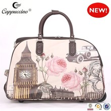 Wholesales cute fashionable design Vintage London Roses Print souvenir travel Wheeled Trolley Bag