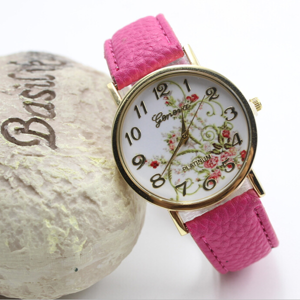 Promotions Gift Geneva Flowers Printing Ladies Leather Watch