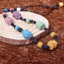 Bohemian Style Natural Volcanic Stone Bead Necklace For Women