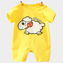 New baby clothes organic cotton short-sleeved baby jumpsuit pink and blue Cartoon baby climb clothes