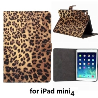 2015 new model tablet leather cover case for ipad mini 4 leopard pattern