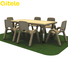 Preschool kids plastic chairs and tables with adjustable height metal table legs