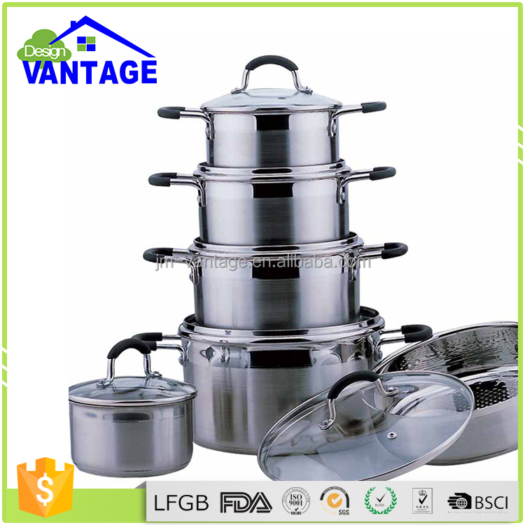 Quality guarantee 12pcs stainless steel induction cookware set porcelain enamel cookware pot with removable handles