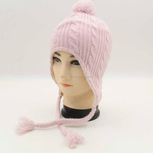 Promotional cheap children earflap knitting pattern hat