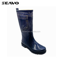 SEAVO SS17 cool navy printed design soft women rubber sole rain boots shoes