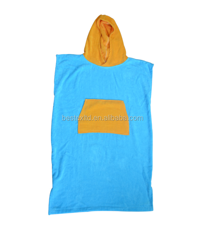 OEM product 100% cotton terry cloth colorful adult hooded surf poncho changing robe towel