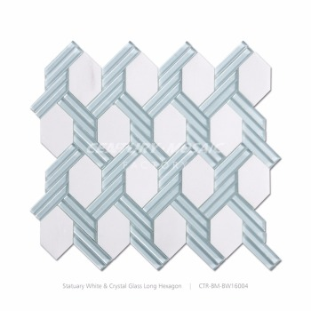 blue glass stone marble decoratibe hexgaon mosaic wall tile