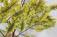 2014 SJ TL35 Factory price fake yellow oak leaf for landscape gardenautumn tree leaves decor artificial tree branches oak leaves