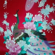 peacock design printed satin fabric / satin factory