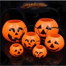 Wholesale Halloween pumpkin candy bucket Halloween plastic portable pumpkin bucket without lights