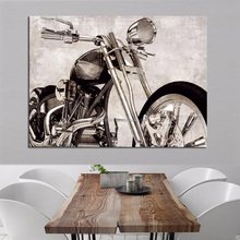 Digital Motorbike Art Pictures Framed Print On Waterproof Canvas For Wall Decoration