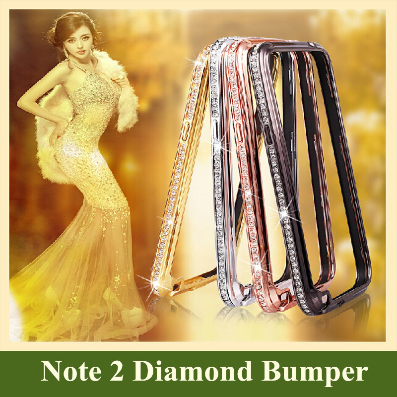 Brand New fashion Luxury Aluminum Metal Frame Bumper Hard Skin Funda Diamond Cases for Samsung Galaxy Note 2 3 4