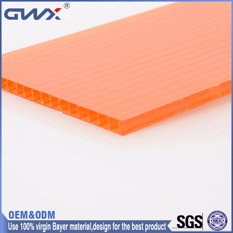 2016 Building Material plastic Multi-wall polycarbonate hollow Sheet made in China