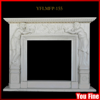 Indoor Used Marble Decorative Fireplace Mantels Stone Carving Fireplace Mantel