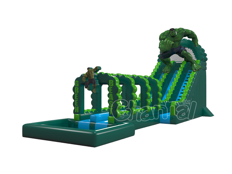 High quality the hulk giant inflatable water slide, inflatable double lane slip slide