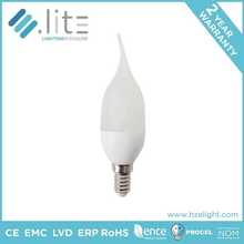 Led Lampen Candle Shape Tailed C37 Bulb 6.5w IC Driver E12 E14 E26 E27 Base CE RoHS Certifications Plastic Plus Aluminium