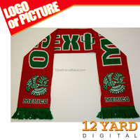 Guangzhou manufacturer Mexico acrylic knitted scarves custom football scarf
