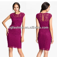Short Sleeve Knee Length Lace Formal Office Dresses for Women In Stock