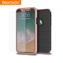 Best Quality brushed for iphone x full armor 360 protective case
