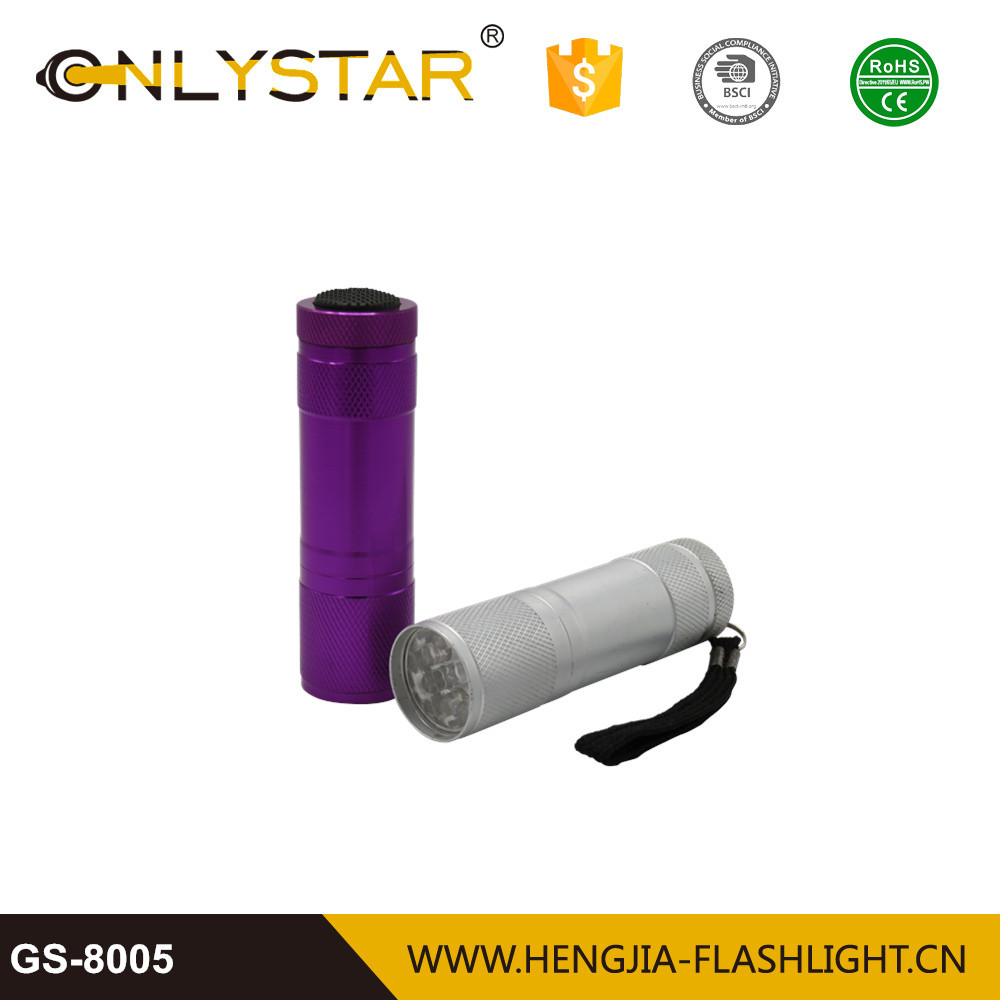 Pocket aluminum alloy black light with different wavelength for your choose mini uv led flashlight 9