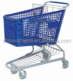 Hot sale hypermarket PP plastic basket shopping trolley With Wheels