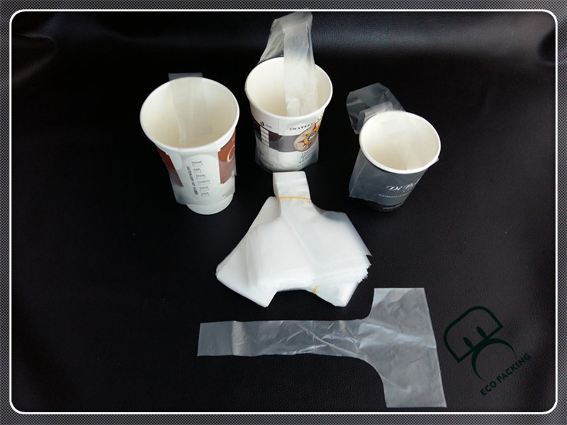 Creative cheap disposable paper coffee cup holder plastic bag