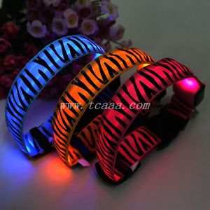 2015 Hot sale pet products, zebra-stripe cheap led collar for dog