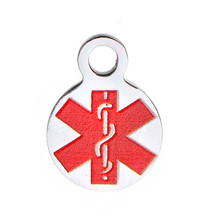 304 Stainless Steel Charms Round Silver Tone Medical Alert ID CaduceusWholesale Alibaba Custom Metal Pendant