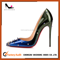 Rivets italian design stiletto gradient high heeled women pumps dress shoes