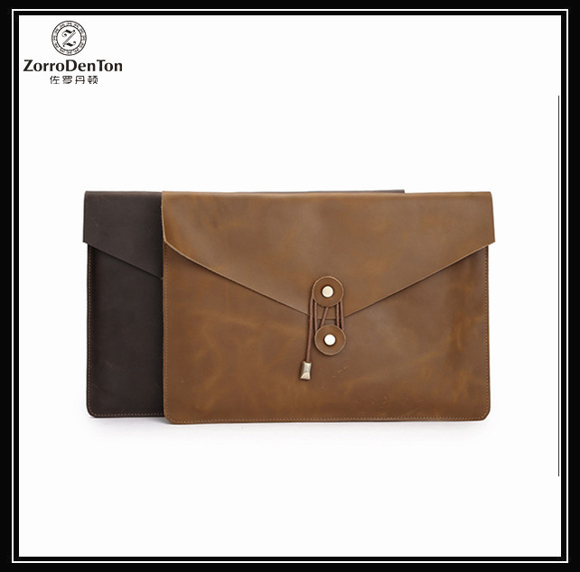 Customized men leather document briefcase laptop bag file holder cover portfolio