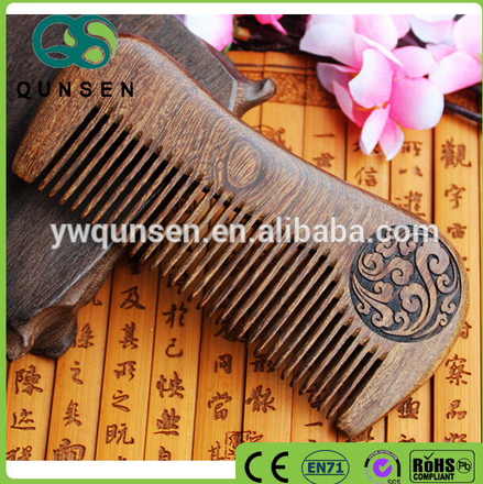 Carved comb sandalwood hair smoothing brush