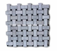 High Quality Carrara White 1x2 Dogbone Wicker Weave Mosaic Tile w/ Black Dots Honed - Marble from Italy for backsplash mosaic wa