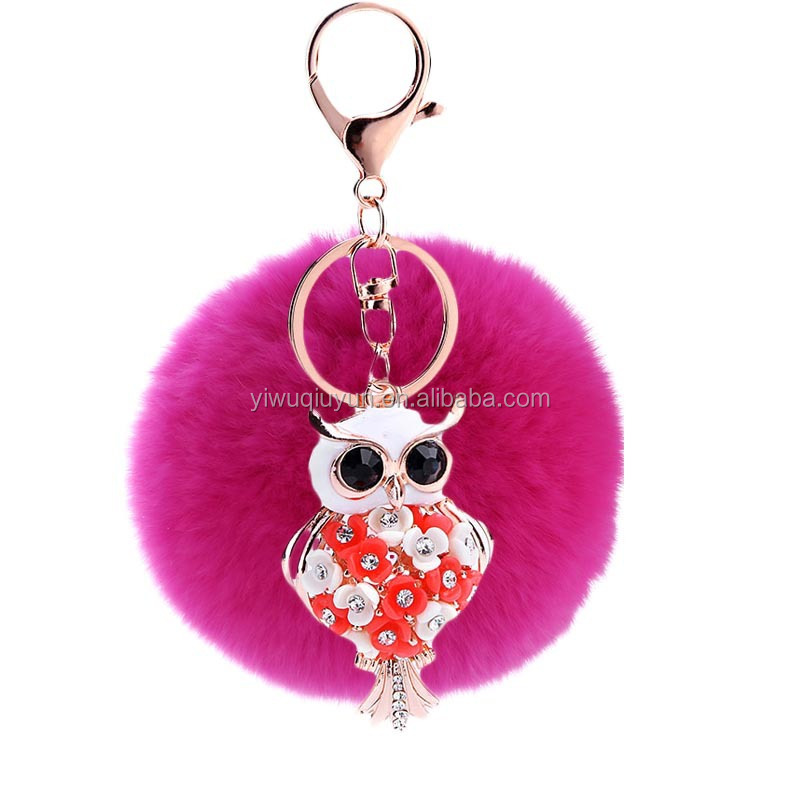 2016 New Rabbit Fluffy Ball Keychain 8CM Owl Rhinestone Cute Fur Ball Key Chain For Car Key Ring Car Ornaments Bag Pendant