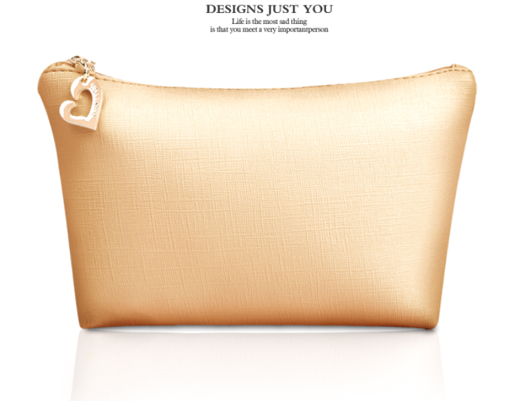 new fashion pvc cute luxury gold color cosmetic bag makeup bag