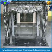 Black marble mantel fireplace