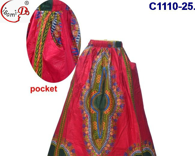 China supplier C1110(25-28) New arrival latest african long print skirt design for lady 2017