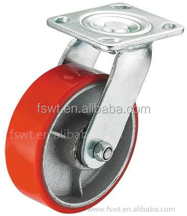 Heavy Duty Iron Core Polyurethane Fixed Industrial recessed furniture casters
