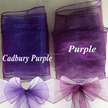 Hot Factory Wholesale Purple Cheap Organza Chair Sashes for Weddings