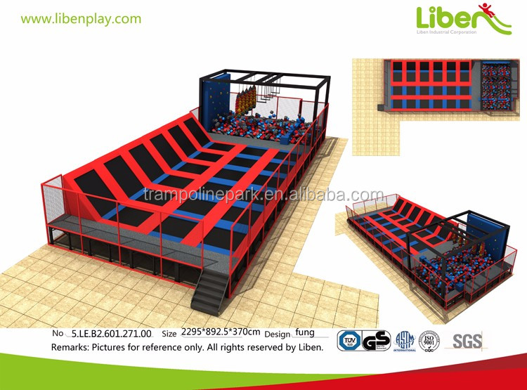Shopping mall ninja course foam pit big indoor commercial trampoline for sale