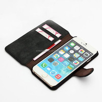 Cowhide Genuine Leather Stand Card Slot Wallet Cover Case For iPhone 6-4.7 Inch, Wallet Cover Case For IPhone 6