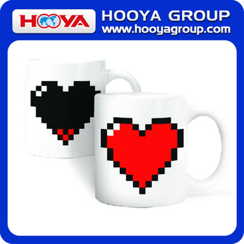 High technology heat temperature heart design hot color change cup