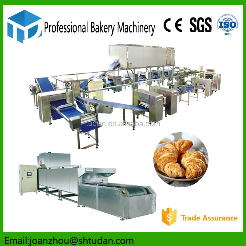 Complete bakery equipment puff pastry machine croissant processing line croissant bread making machine