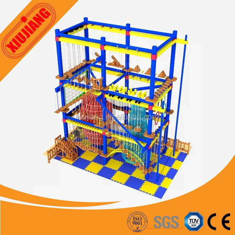 Indoor Children Climbing Rope Net, Jungle Gym/ Obstacle Course Playground For Sale