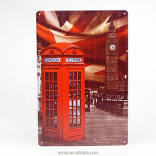 Wall Telephone Booth Custom Tin Sign Decoration Metal Art Poster