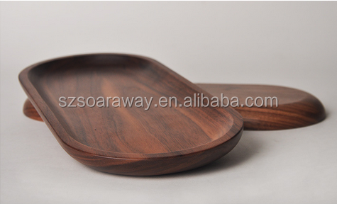 Sustainable walnut wooden serving tray for food fruit bread