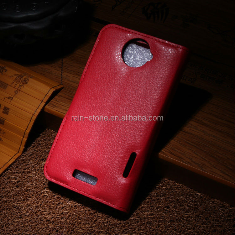 Luxury leather wallet case for htc one x case with holder